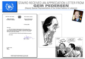Stavro Received an Appreciation Letter from Geir Pederson (Deputy Special Representive of the United Nations in Lebanon)