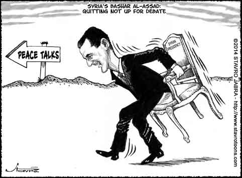 stavro-Syria's Bashar al-Assad: Quitting not up for debate.