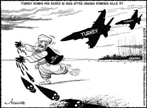 stavro-Turkey bombs PKK bases in Iraq after Ankara bombing kills 37.